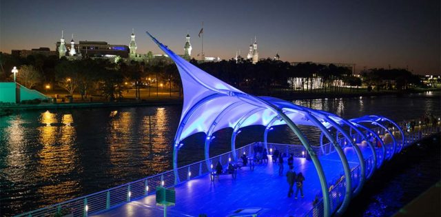 Tampa Riverwalk at Night - Visit Tampa Bay